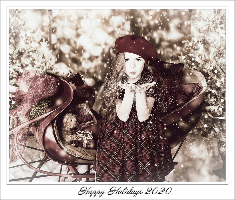 girl blowing snowflakes FRAMED 2 sepia r