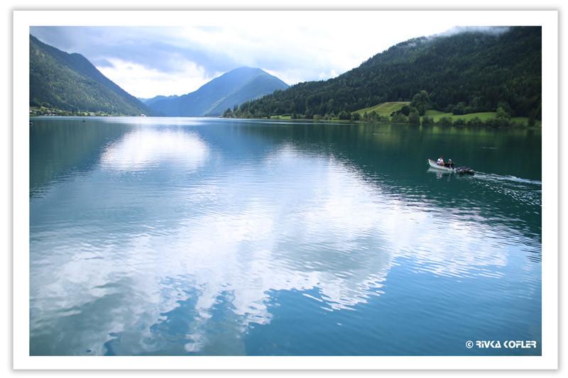 אגם, סירה, הרים