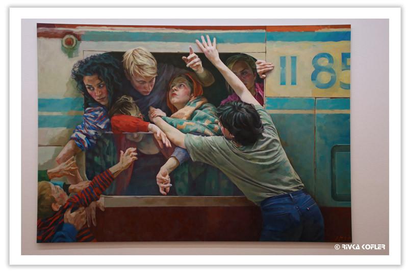 ציור של פליטים ברכבת