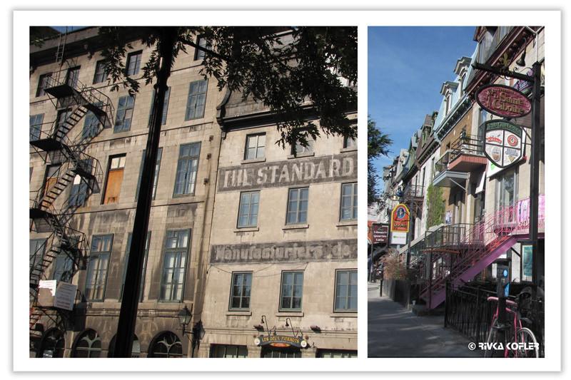 קטע רחוב ובניין עם מדרגות חירום