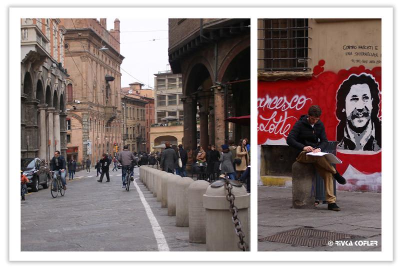 צייר, גרפיטי, רחוב בבולוניה
