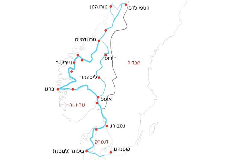 מפת טיול בנורבגיה