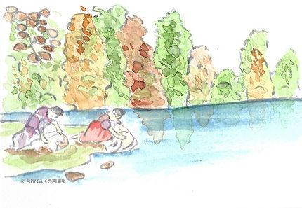 ציור כובסות בנחל