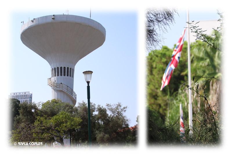 בית השגריר הבריטי מול מגדל המים - גן הקופים