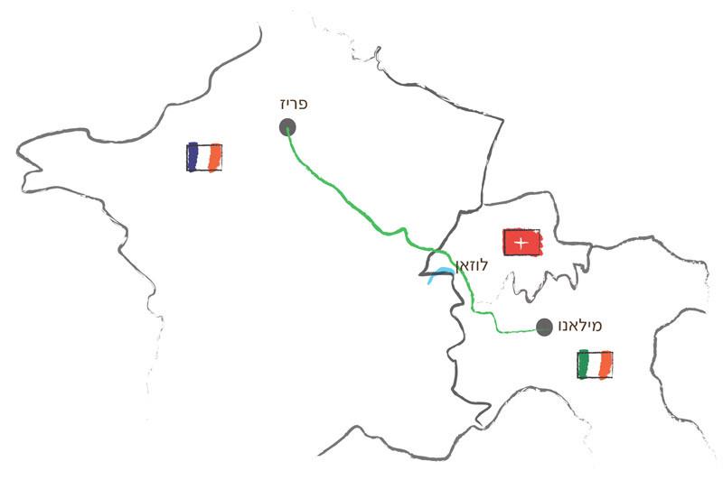 מפה - הדרך מפריז למילאנו