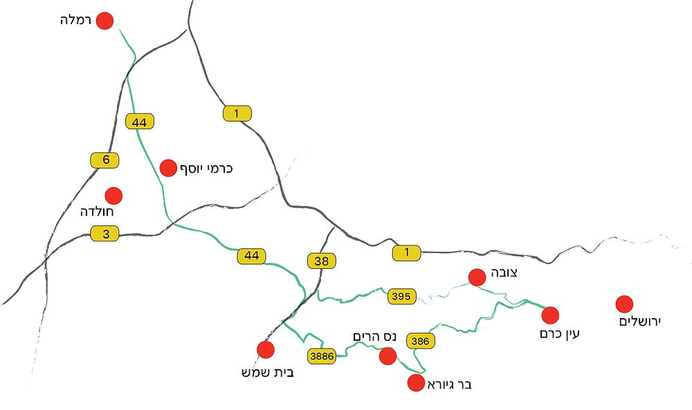 מפה, הדרך הישנה לירושלים
