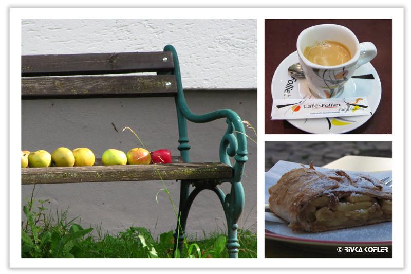 תפוחים על ספסל, שטרודל וקפה