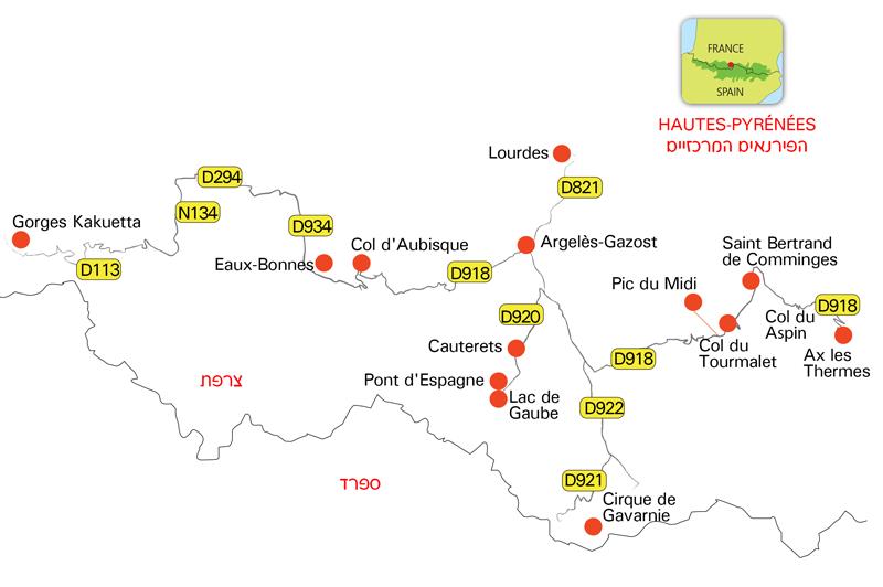 מפה - הפירנאיים הצרפתיים - מרכז