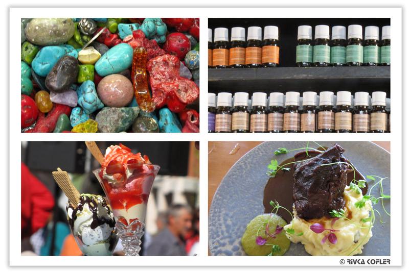 תמונות צבעוניות של בקבוקונים, אבנים, אוכל