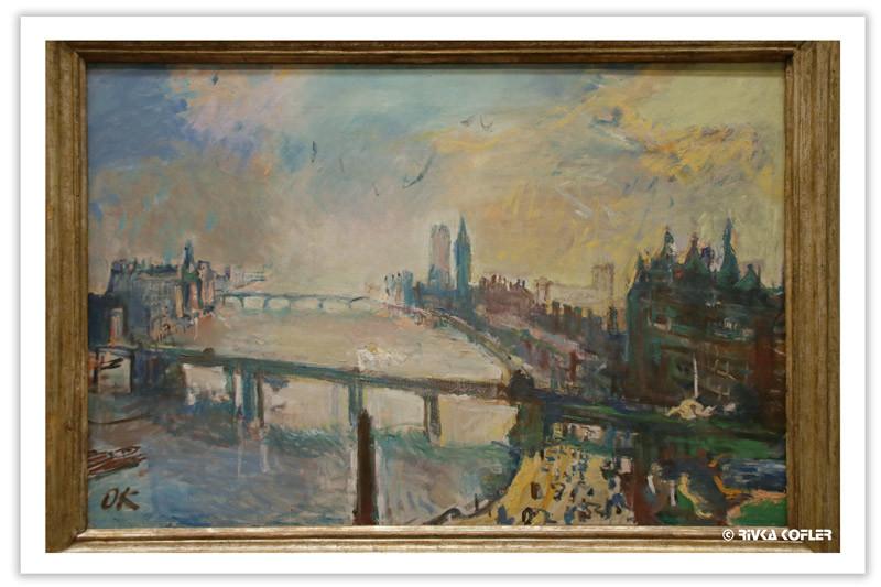 ציור של נהר וגשרים