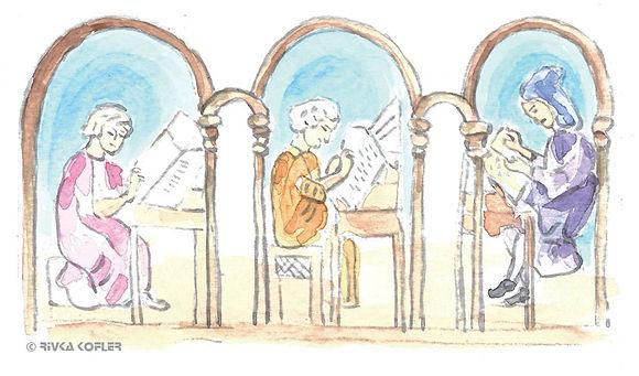 ציור נזירים מעתיקי ספרים