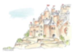 ציור כפר על צלע הר