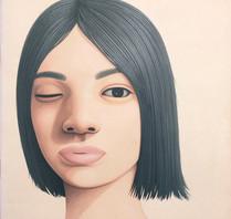 Portrait - opened one eye