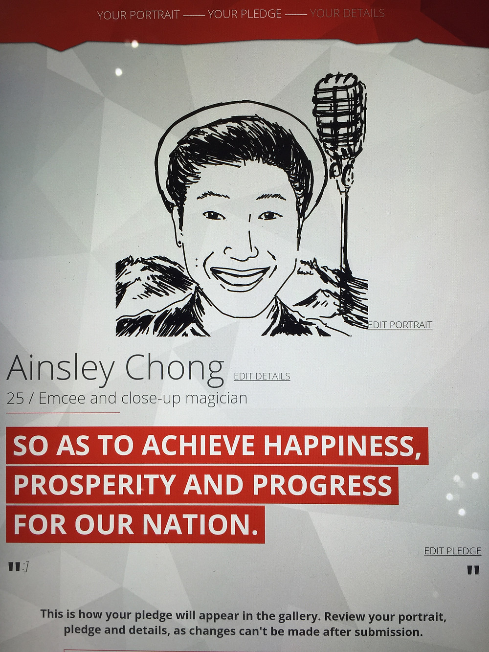 Emcee Singapore - Ainsley Chong, National Gallery Singapore Portraits of the People