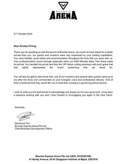 Emcee Singapore Ainsley Chong - Testimon