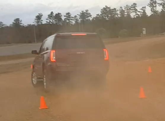Large SUV avoidance maneuver ....