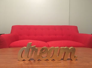 Red Couch with Dream Desk