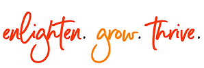 caligraphic font text states: enlighten. grow. thrive.