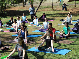 Aula aberta de yoga no parque
