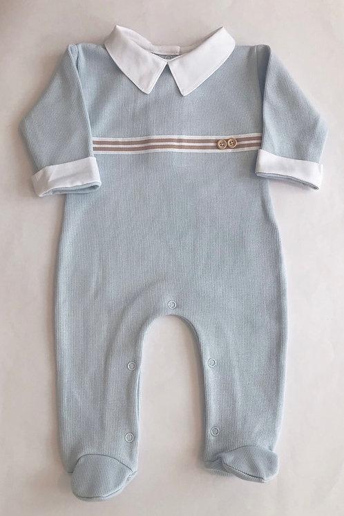 Macacão longo azul bebê fita Beto
