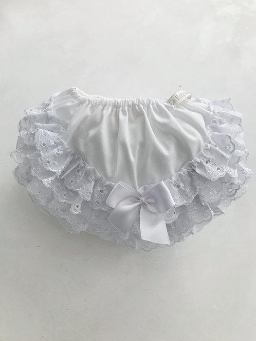 Calcinha branca bordado inglês 1 lacinho