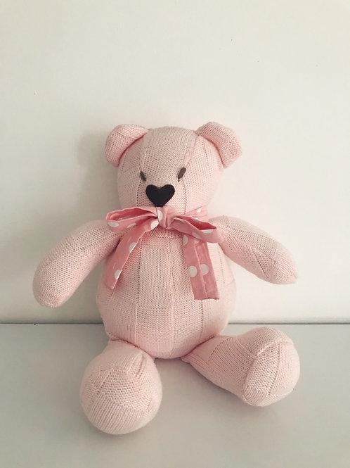 Urso tricot rosa médio