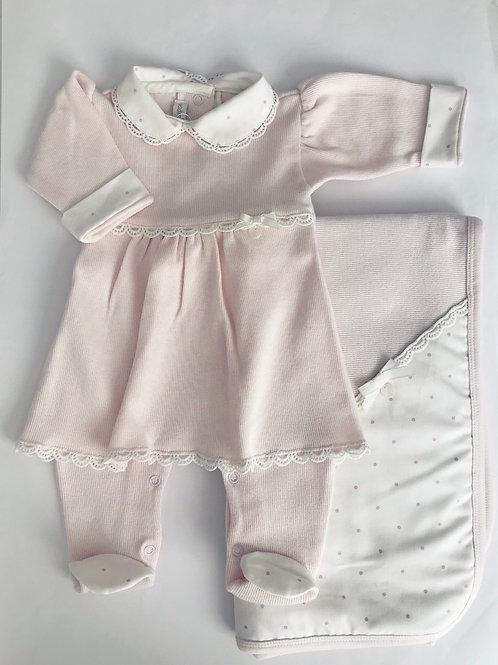 Conj macacao vestido com manta rosa Larissa