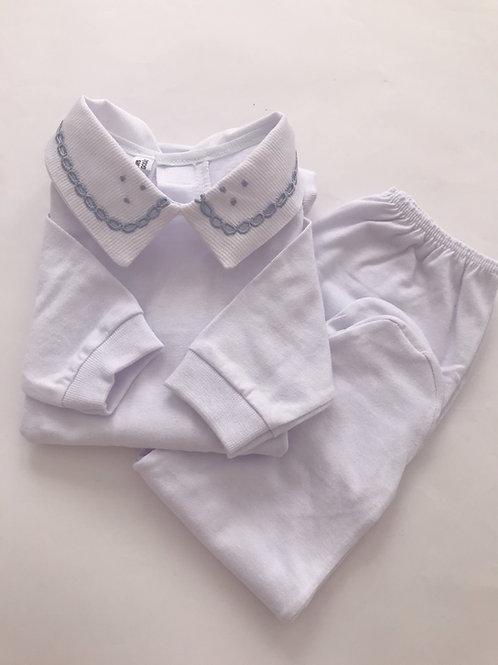 Body bordado richelieu azul bebê com culote.