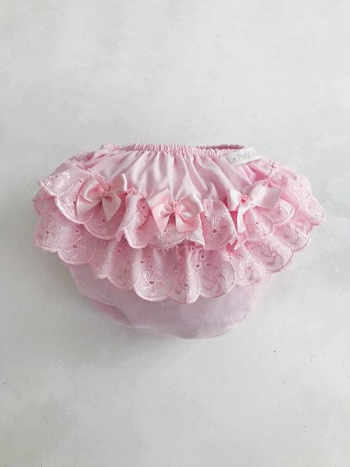 Calcinha rosa bordado inglês 3 lacinhos