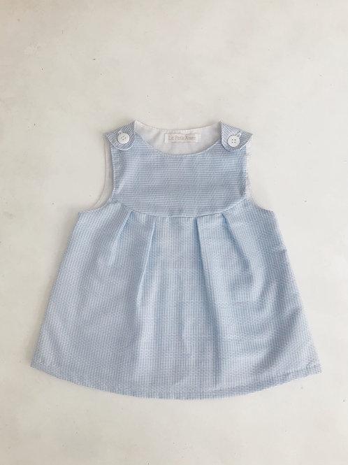 Vestido azul bebê xadrezinho