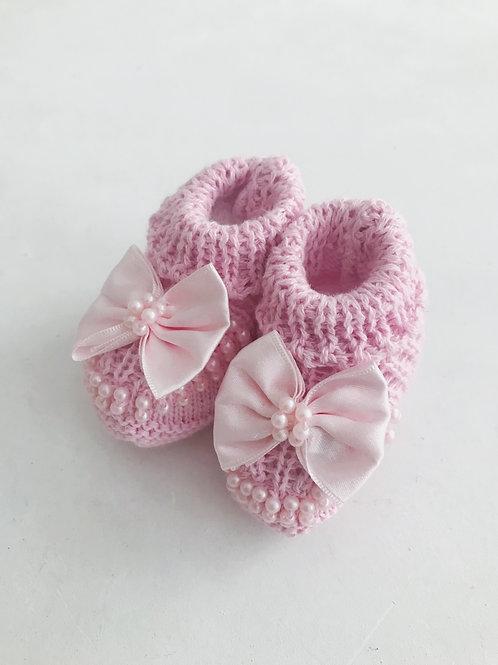 Botinha tricot laço rosa lilás