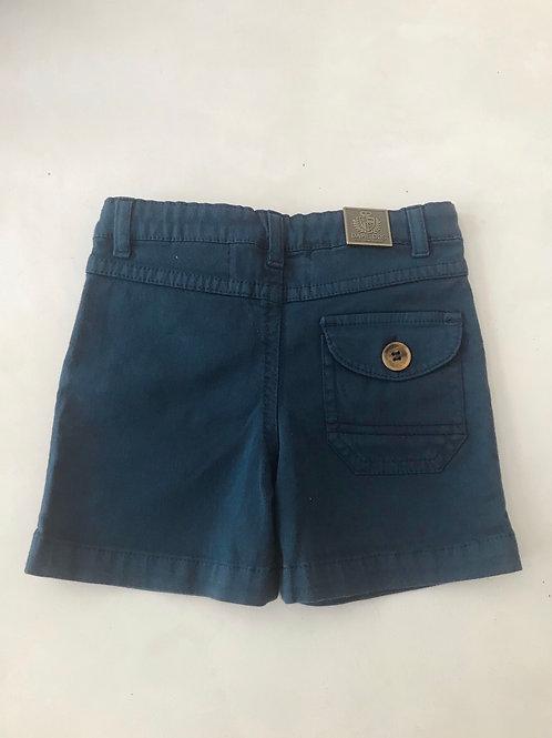 Shorts social azul com bolso atrás