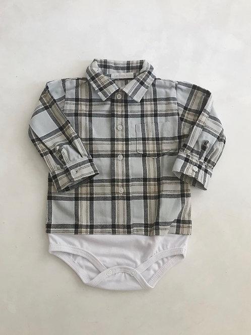 Camisa body xadrez flanela cinza