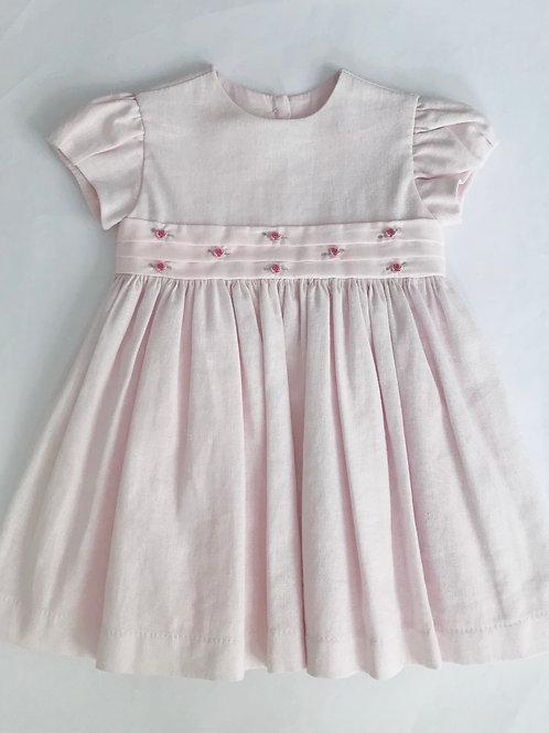 Vestido linho rosa rococó