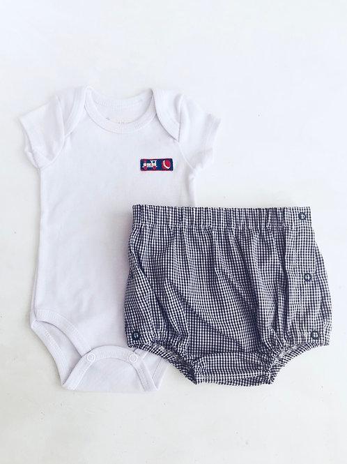 Conjunto Body com shorts xadrez marinho