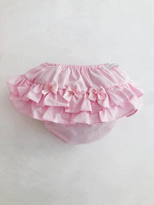 Calcinha rosa babadinho 3 lacinhos.