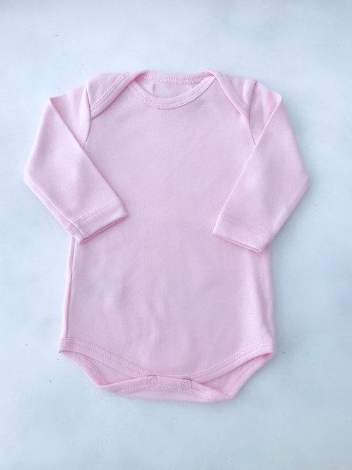 Body rosa bebê manga longa