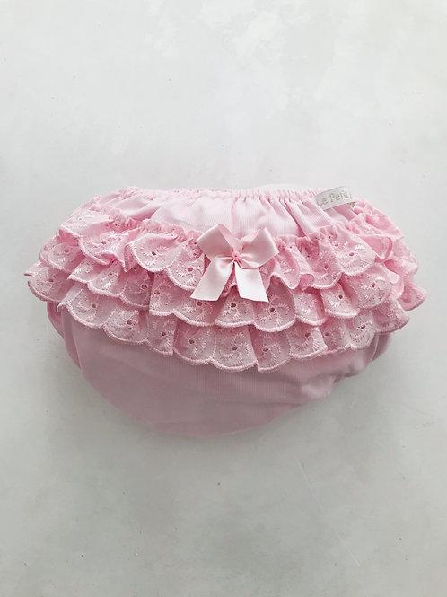Calcinha rosa bordado inglês 1 lacinho