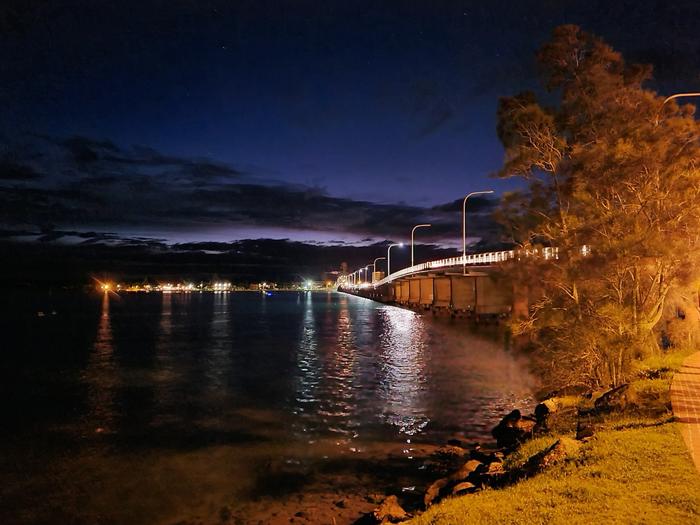 Forster Tuncurry Bridge at night.