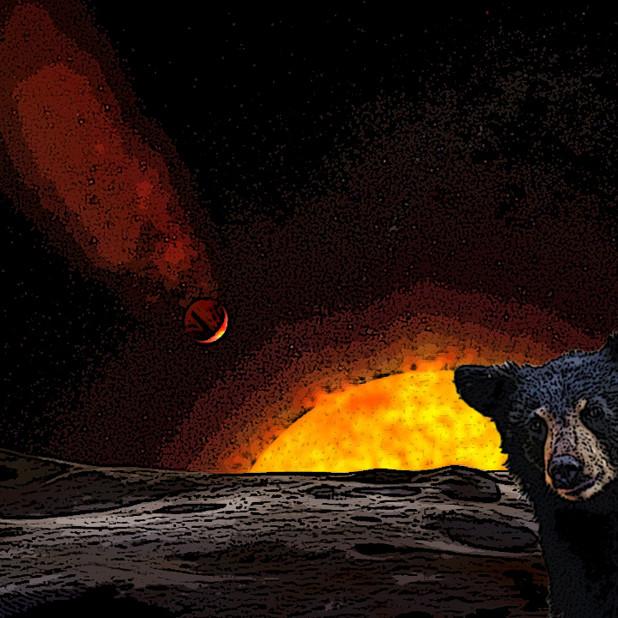 彗星の落下を見つめるクマ(コメット・イブニング)