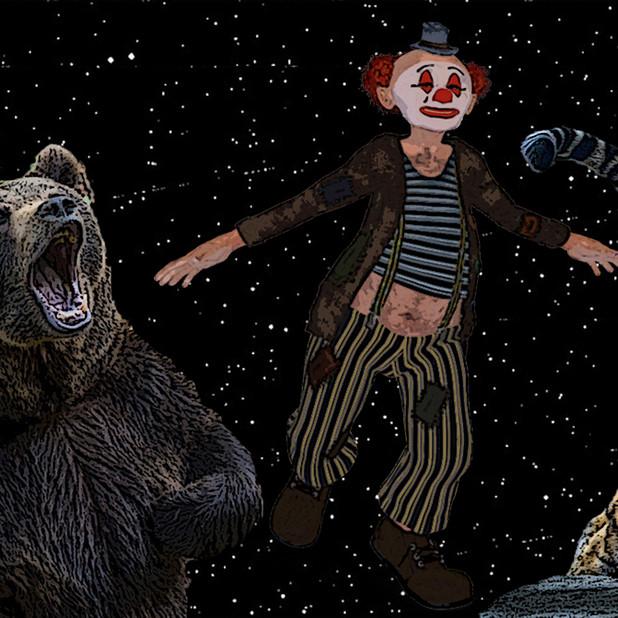 クマとトラがピエロに迫る(金星ダンス)