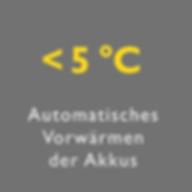 Bild Vorteil Automatisches Vorwärmen der Akkus