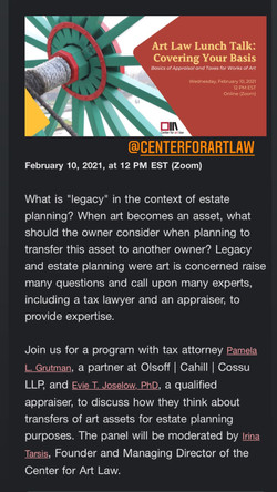 Center for Art law March 3rd Talk