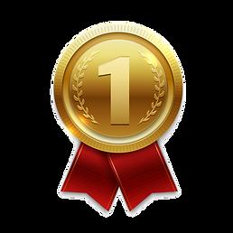 medalla-oro-ganador-cintas-rojas-aislada