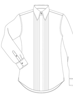 Black Tie full pleated front, concealed buttons (gusset width 3cm)