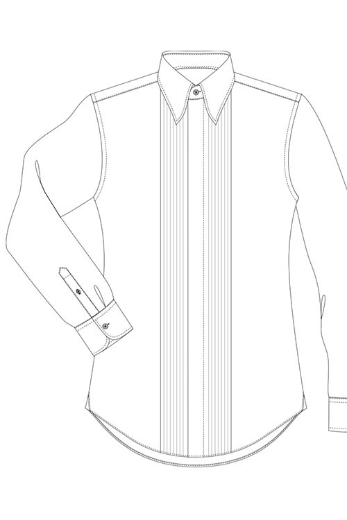 Pleated front, concealed buttons (gusset width 3cm)