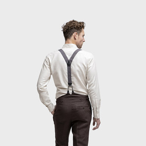 Trouser bespoke options include side adjusters, fly button and buttons for braces