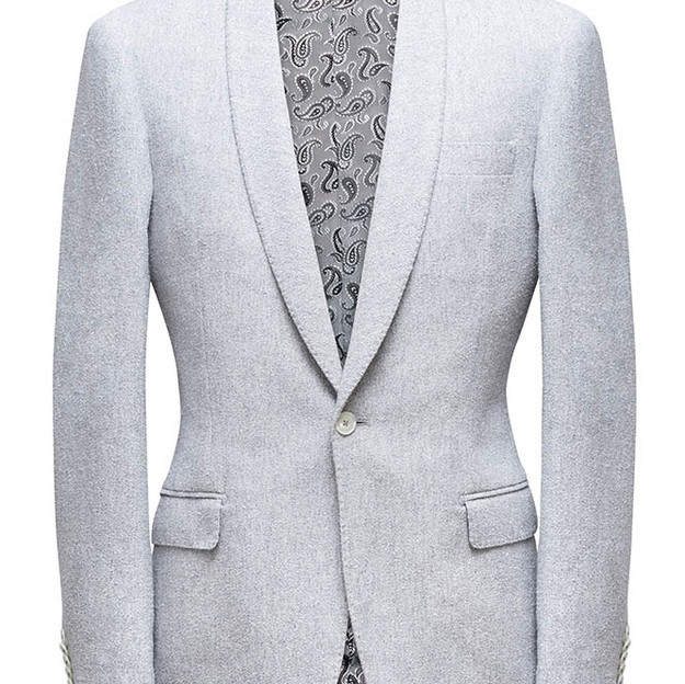 Single Breasted, shawl collar, one button, straight flap pockets