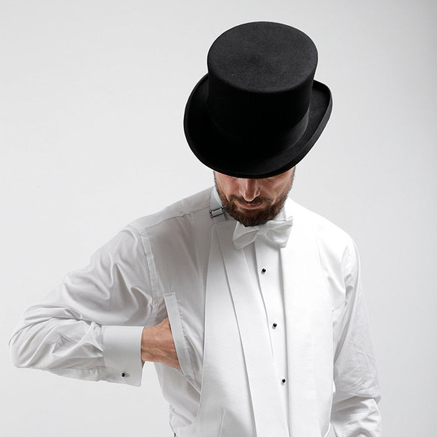 Evening Dress / White Tie waistcoat with deep V-neck worn with tailcoat.