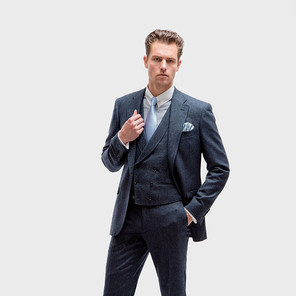 Style 12: Double breasted 6 x 3 buttons, shawl lapel, straight bottom with P2: 2 jetted pockets.